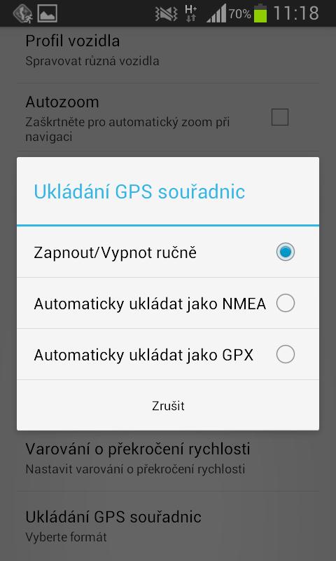 MapFactor Navigator – Ukládání GPS souřadnic