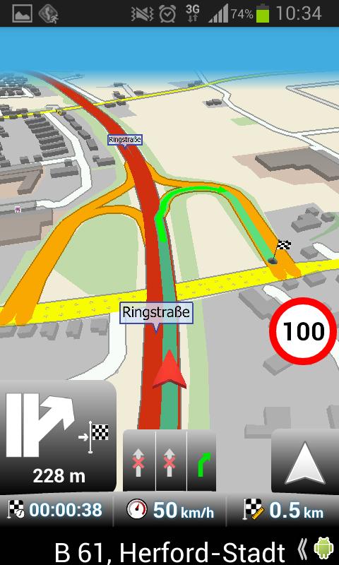 MapFactor Navigation Screen Karte